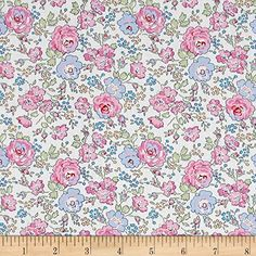 Liberty of London Classic Tana Lawn Felicite White/Pink From the world famous Liberty Of London this exquisite cotton lawn fabric is finely woven silky very lightweight and ultra soft. This gorgeous fabric is oh so perfect for flirty blouses dresses lingerie even quilting. Colors include pink periwinkle blue green yellow accents and an off-white background. affiliate link for amazon