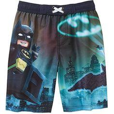 0998ad2c29 Lego Batman Boys Batman Gotham City Swim Trunks Shorts DC Comics The Lego  Batman Movie Boardshort Swim Trunk