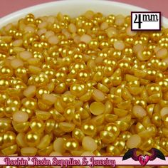 200pc 4mm GOLD YELLOW Half Pearls Flatback Decoden Cabochons