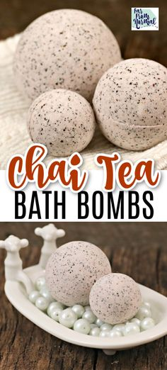 Chai Tea Homemade Bath Bombs These homemade bath bombs have the amazing, relaxing scent of spicy chai tea. They are perfect for relaxing in the tub on a chilly fall night!