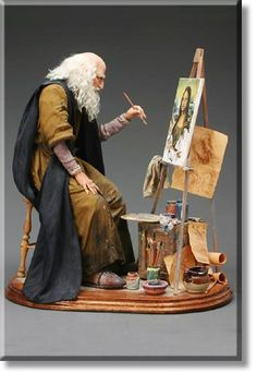 Leonardo da Vinci Gazing intently at the portrait before him, the elderly Leonardo works on Mona Lisas elusive smile. His sketches and paint experiments litter his messy studio.  M Gallery