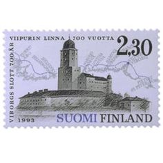 """""""Viipurin linna 700 vuotta"""", postimerkki vuodelta 1993 ... Interesting Buildings, All Over The World, Postage Stamps, Finland, Statue Of Liberty, Bookends, 1990, Architecture, Travel"""