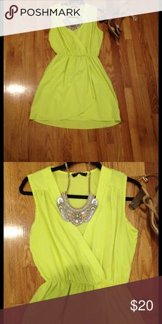 Chartreuse sleeveless dress Cute dress for summer with elastic band. Accessories are not included. Honey Punch Dresses