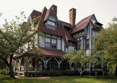 Designed by Frank Furness, the Emlen Physick Estate in Cape May, New Jersey is a hallmark example of Victorian Stick Style architecture. Constructed: 1878