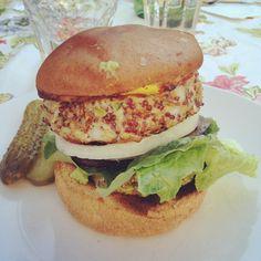 Turkey Quinoa burger on a gluten free bun.