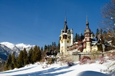 Photo about Landscape view of the Peles Castle in Sinaia, Romania and the Carpathian Mountains in winter. Image of landmark, carpathian, culture - 61743795 Winter Photography, Image Photography, Peles Castle, Carpathian Mountains, Winter Landscape, Beautiful Buildings, Architecture Art, Barcelona Cathedral, Places