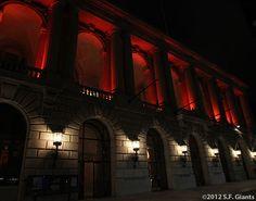 Veterans War Memorial dressed in SF Giants Orange