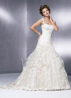 Wedding Dresses - $199.79 - A-Line/Princess Sweetheart Chapel Train Satin Lace Wedding Dress With Ruffle Beading (00205002000)