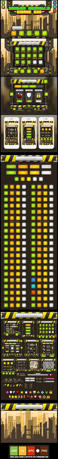 Urban Rumble - Game GUI - User Interfaces #Game Assets Download here:  https://graphicriver.net/item/urban-rumble-game-gui/15872260?ref=alena994