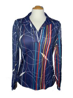 Vtg 1970s Vintage 70s Abstract Trippy. I own a black version of this blouse! THIS is the equivalent