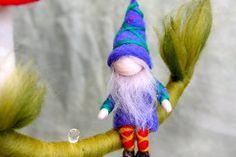 Waldorf inspired needle felted children mobile: Dwarf door MagicWool