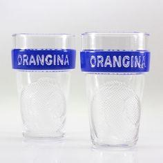 Two Matali Crasset Design Orangina Drinking Glasses Tapered Blue Band French #Orangina
