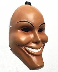 This is a purge mask, and when I think of V's mask I think of the purge. In the purge they have 24 hours to commit any crime they want including murder. I feel like V is committing any crime he wants as well.