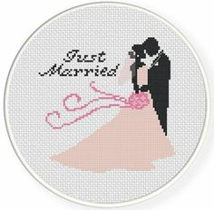 Just Married, Handmade Unframed Cross Stitch- Married Couple Gifts, Just Married Sign, Just Married Gifts, Bride And Groom Gift Sign - - Cross Stitching, Cross Stitch Embroidery, Embroidery Patterns, Wedding Cross Stitch Patterns, Cross Stitch Designs, Cross Stitch Heart, Modern Cross Stitch, Just Married Sign, Cross Pictures