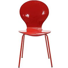 Modway Insect 34in.H Oak Plywood and Veneer Glossy Dining Side Chair, Red