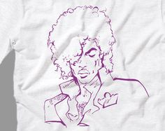 Prince drawing T Shirt, Premium Quality fabric, Prince purple rain ink tee shirt All Sizes from kid Sml - Adult 5XL