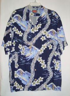 TOMMY-BAHAMA-RELAX-Hawaiian-Surfer-Mens-Short-Sleeve-Aloha-Shirt-Size-L