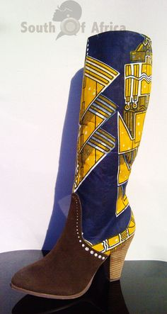 Ankara Knee High Boots by SouthOfAfrica on Etsy ~Latest African Fashion, African women dresses, African Prints, African clothing jackets, skirts, short dresses, African men's fashion, children's fashion, African bags, African shoes ~DK