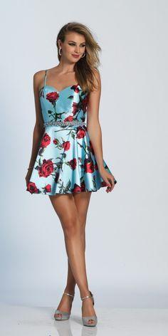 Satin Rose Print Short Dress A4022. Colors: Print. Size: 0-10