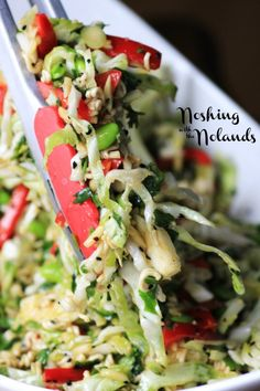 Japanese Noodle Salad by Noshing With The Nolands - cabbage edamame, baby kale, red pepper, cilantro, green onions, ichiban noodles (Ramen?)