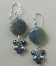 Labradorite with pearls and amethyst earrings