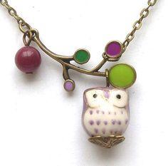 antique brass leaf pendant, jade round bead, porcelain owl pendant, antiqued brass chain.