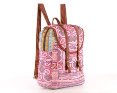 Large Backpack, School Bag, Teen backpack, Festival Backpack, Pink, Cute, Floral, Ethnic, Hand Stitched, Gypsy, Boho chic, Spring, Hippie