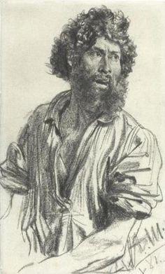 Menzel, Adolph von, - Bearded Man / drawing / Artworks / Silesian Kunstsammlugen - Rariora Artis -- pencil