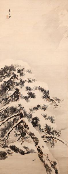 Pine Tree in Snow by SASAKI Shobun (1890-1970), Japan 佐々木尚文