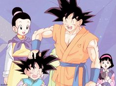 Loving daddy Goku, mommy chichi and their baby boy ♡^^ Dragon Ball Gt, Goku Y Chichi, Gohan And Goten, Kid Goku, Chi Chi, Fan Art, Drawings, Android 18, Milk