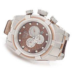 Invicta Reserve 52mm Bolt Zeus Swiss Chronograph Leather Strap Watch w/ Three-Slot Dive Case
