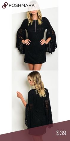 """New arrival black lace dress Lace dress with exaggerated long bell sleeves in black. Small measures as follows L32"""", B32"""", W30"""".  100% polyester with nylon lining. Dresses Mini"""