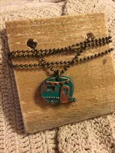 Boho Chic Happy Camper necklace. Available at Krusen Creations Etsy shop. $15 with free shipping.
