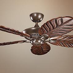 "54"" Kichler Canfield Climates™ Mocha Wood Ceiling Fan"