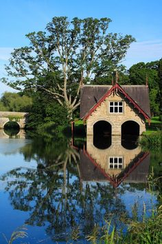 Boathouse on River Rye in Co. Kildare, Ireland; Photograph by Joe Burns
