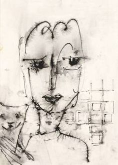 Art - Drawing - Woman with Cat - Hannah Höch, {1889/1978}