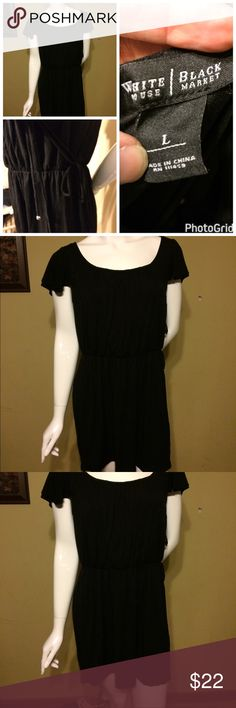 White House Black Market dress Large EUC Really cute simple White House Black Market dress.  Size Large.  Mini, hits above the knee. Has elastic tie waist, I am holding the strings up in one picture. Elastic neck line.  96% Rayon 4% Spandex. I ship Monday - Friday. Smoke free home. We do have a large English Mastiff that sheds terribly.  Everything is freshly laundered before being shipped out.  #28 White House Black Market Dresses Mini