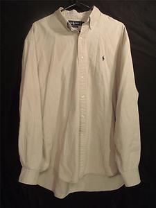 Mens Ralph Lauren Button Down Up XL Dress Shirt Tan Long Sleeve Cotton
