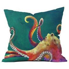 Clara Nilles Polyester Mardi Gras Octopus Indoor/Outdoor Throw Pillow
