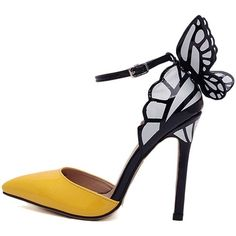 Yellow 3D Butterfly Ankle Strap Heels ($47) ❤ liked on Polyvore featuring shoes, pumps, yellow pumps, yellow shoes and polyurethane shoes
