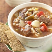 Barley-Beef Soup Recipe: Replace beef broth and onion with 2 pkg dry onion soup mix plus 7 cups water?