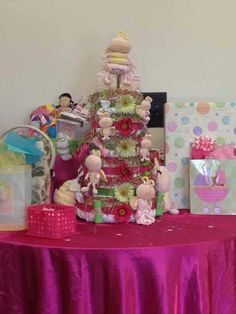 diaper cake i made for my daughters baby shower