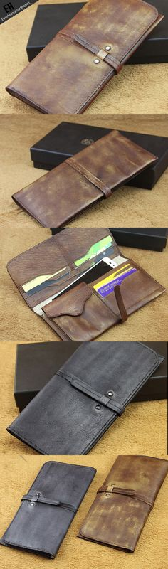 Handmade men long leather wallet men bifold vintage gray brown long wallet for him