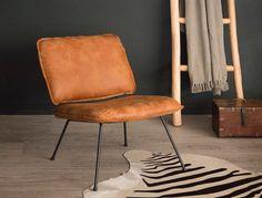 Lounge Zeteltje in Bruin Leder | Gero Wonen | Gero Wonen #cognac #fauteuil #leder