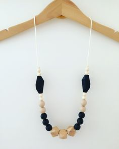 "Teething Necklace ""Flick"", silicone, wood, breastfeeding necklace, teething jewellery, geometric, statement necklace, neutral by SebandRoo on Etsy"