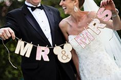 We love the paisley prints on this Mr. & Mrs. banner! #pink #paisley