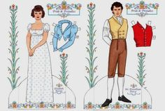 Pride And Prejudice - Jane Austen Dress Up Paper Dolls - by Dover Publications - == -  From the literary universe by English novelist Jane Austen, here are Elizabeth Bennet and Darcy Fitzwillian in beautiful paper doll versions, offered by Dover Publications website.