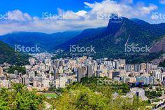 Rio de Janeiro, Brazil: looking towards Corcovado, from Sugar Loaf royalty-free stock photo Vivid Colors, New York Skyline, My Photos, Royalty Free Stock Photos, Mountain, Sugar, America, Beach, Travel