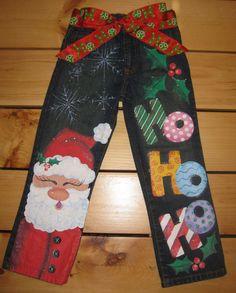 Girls Handpainted Christmas Jeans Santa Ho by PaintMePrettyShoppe, $45.00