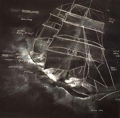 Tacita Dean,  Roaring Forties: Seven Boards in Seven Days [Detail], 1997  Chalk on blackboard  7 works, 240 x 240 cm each